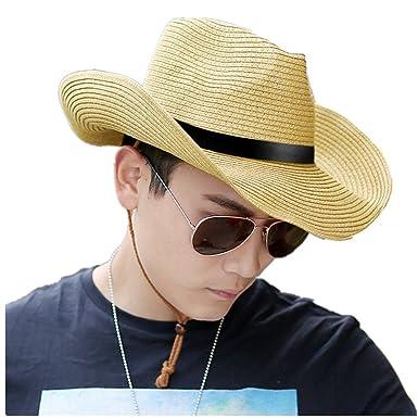 19ba4eacf6ed Hommes Chapeau de Cowboy Paille Large Bord Panama Pliable avec Bande Cuir  Chapeau de Plage Soleil