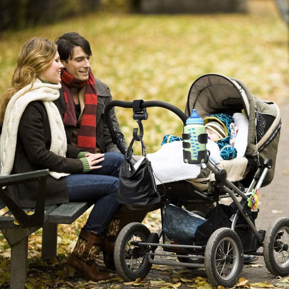 Eletorot Poussette Porte-gobelet poussette de bebe avec Crochets,poussette tasses Porte-Biberon Universel,360 degr/és rotatif porte-gobelet,ABS Reglable,biberon Organiseur Noir 1