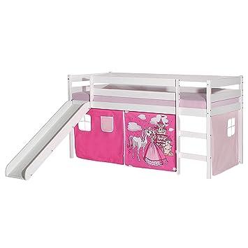 Vorhang Spielbett Hochbett Kinderbett Kinder Bett mit Rutsche 90x200 cm
