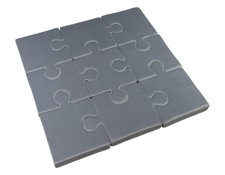 tappeto da gioco per bambini e neonati 120x120x8cm 9 cuscini puzzle motivo: blu scuro - grigio