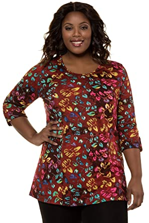 6fb55d49c893d Ulla Popken Women s Plus Size Colorful Leaf Print Knit Tunic 716448 at  Amazon Women s Clothing store