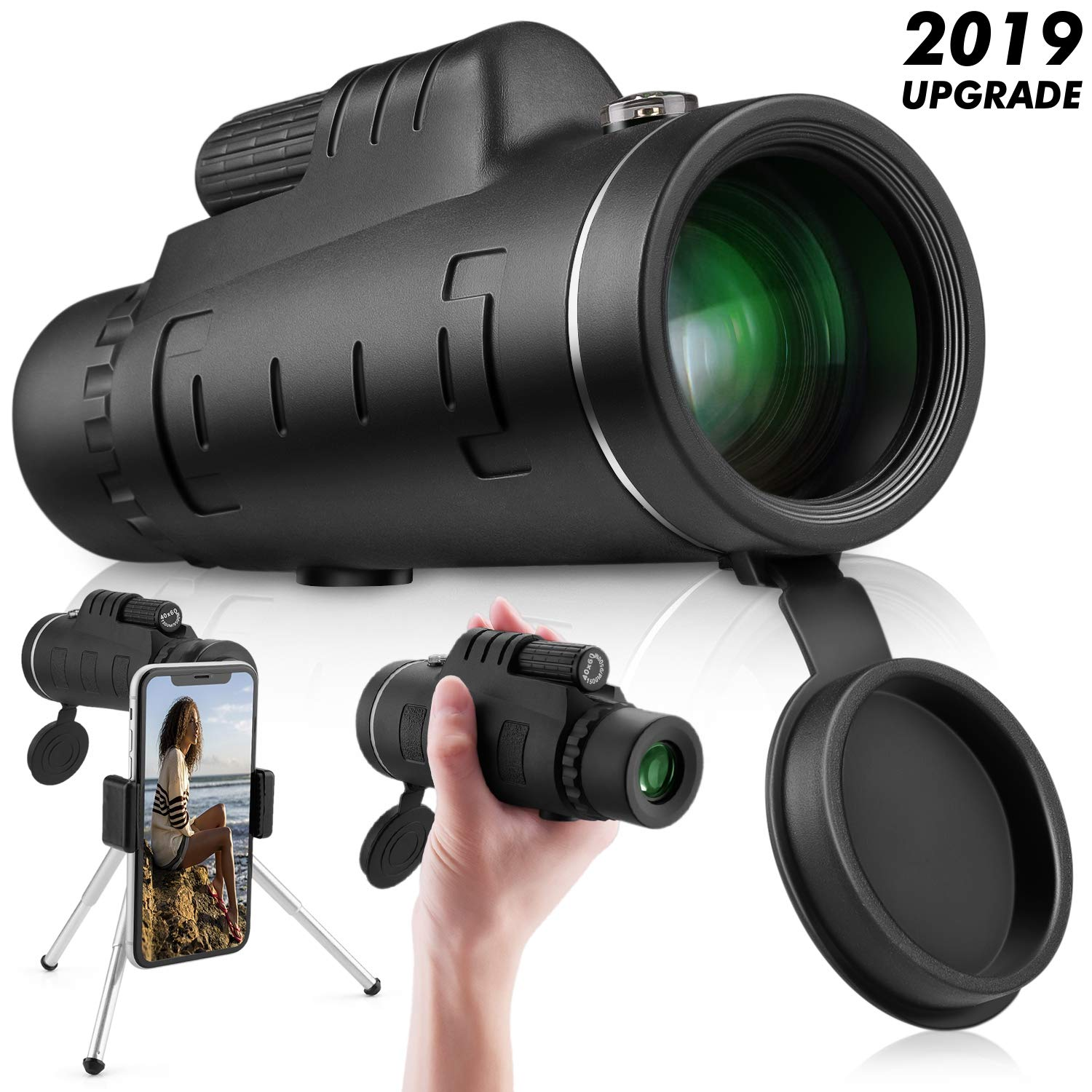 Monocular Telescope High Power 40x60 - Ce Optics High Powered Bak4 45 Degree Angled Eyepiece Telescope with Smartphone Tripod and Mount Adapter for Target Shooting, Birdwatching, Wildlife Scenery