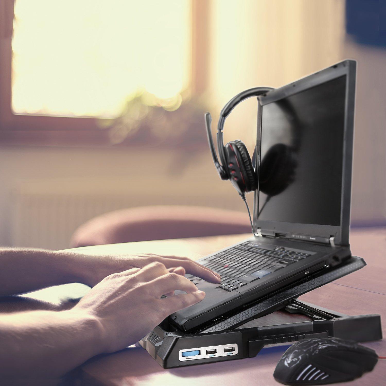 AUKEY Refroidisseur PC Portable 4 Ventilateurs, Support Ordinateur Portable  12-17 Pouces LED Bleus ed96ddb6688f