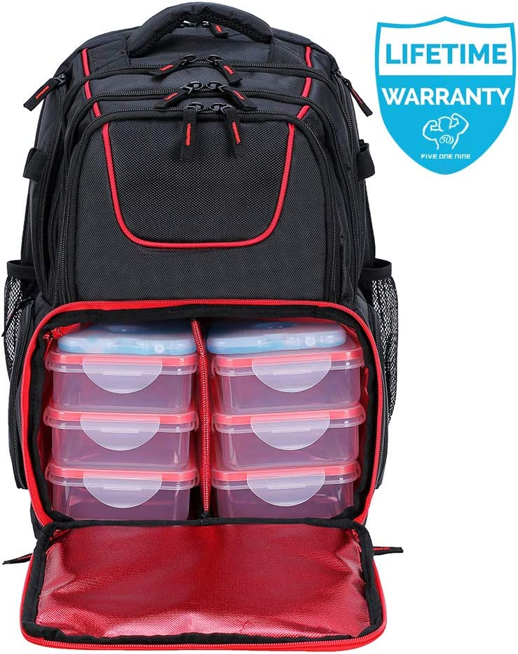 2020 UPGRADED 519 Fitness Meal Prep Backpack Insulated Waterproof-Cooler Lunch Backpack bag Hiking Backpack for Men and Women-Picnic Cooler Backpack with 6 Leakproof Meal Containers and 2 Ice Packs