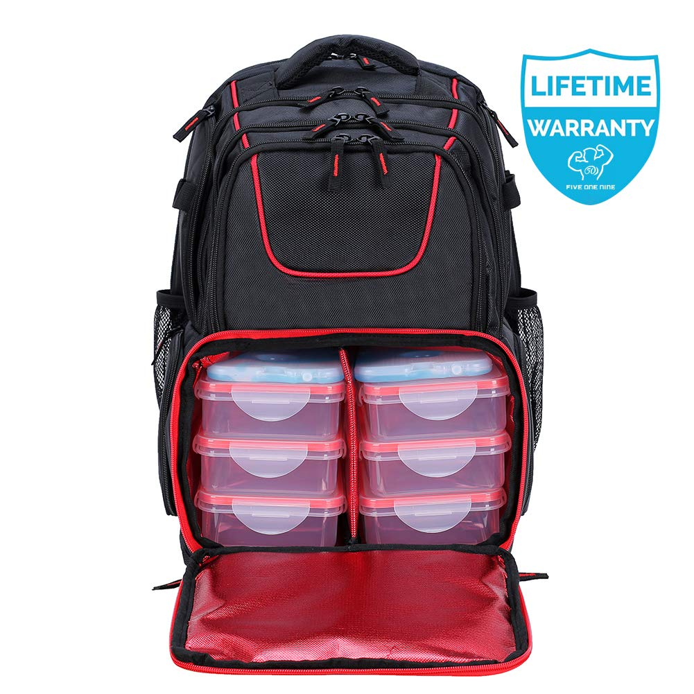 519 Fitness Meal Prep Backpack Insulated Waterproof-Cooler Lunch Backpack Hiking Backpack for Men and Women-Picnic Cooler Backpack with 6 Leakproof Meal Containers and 2 Ice Packs by FIVE ONE NINE