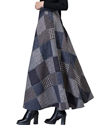 592bce884d57 Femirah Women's Thick Vintage Plaid Pleated Skirt Autumn Winter Long Skirts:  Amazon.co.uk: Clothing