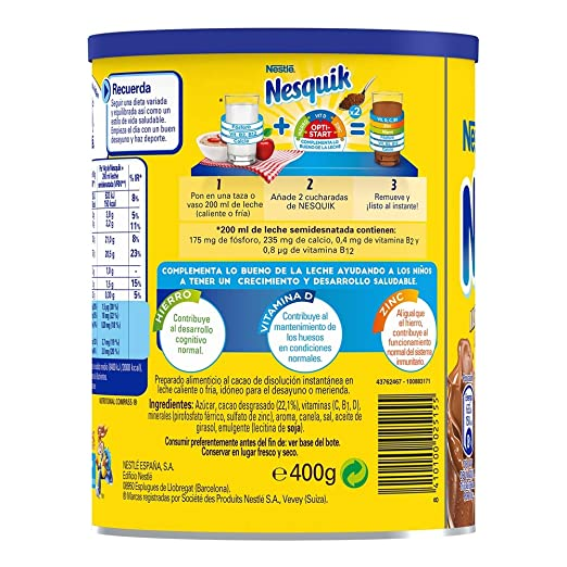 Nestlé Nesquik Cacao Instantáneo Soluble - 400 g: Amazon.es: Amazon Pantry