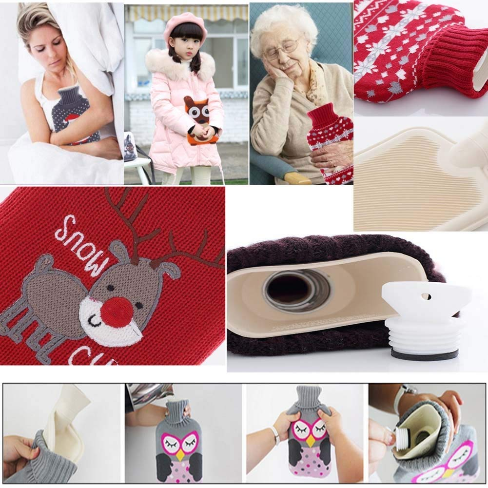Mini Hot Water Bottle Hot Water Bag Cute Hot Water Bottle with Cover 0.5l Removable Portable Hot Water Bottle for Kids Men Women Best Christmas Birthday Mothers Day and Valentines Day Gift