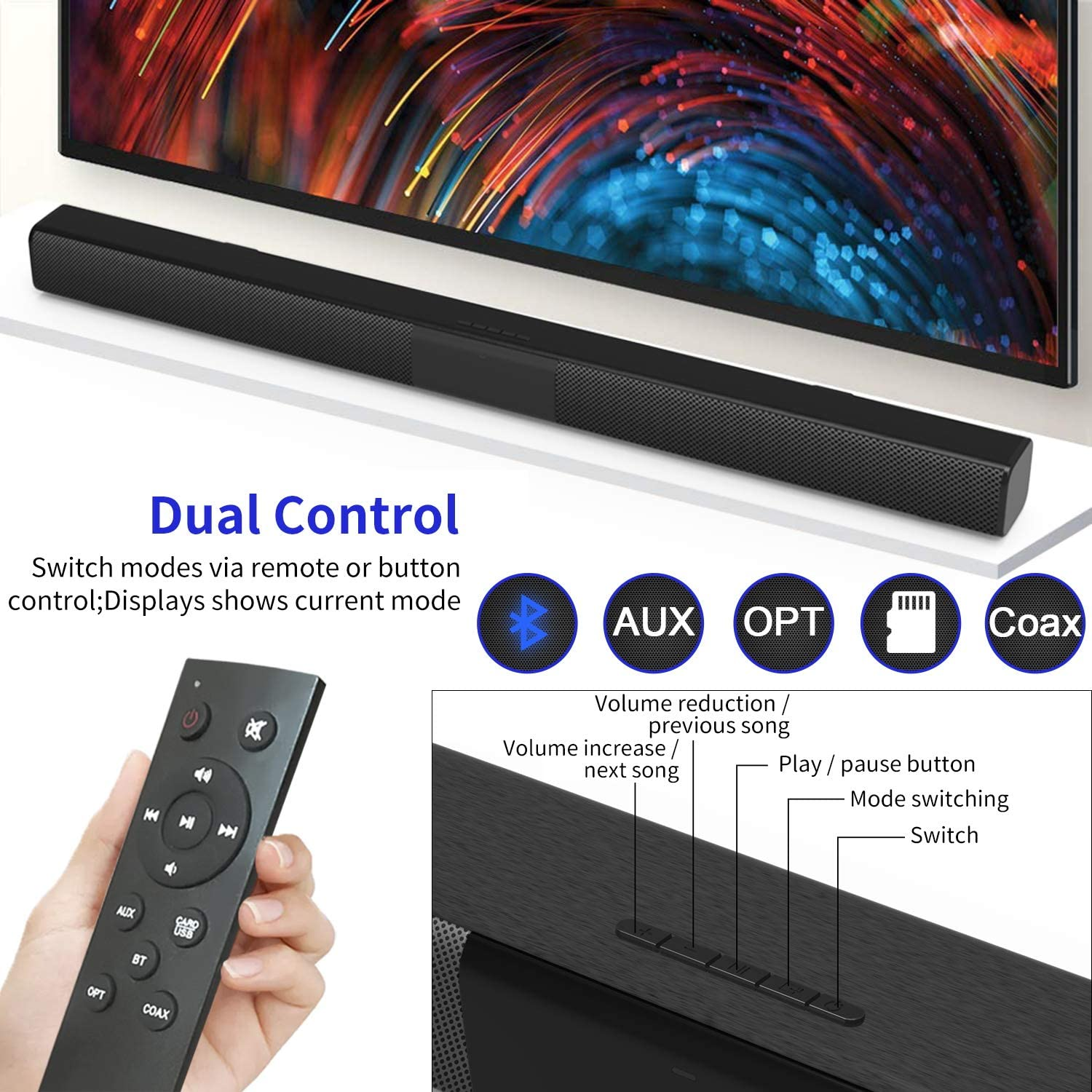 32-Inch TV Soundbar with Built-in Subwoofers Remote Control Wall ...
