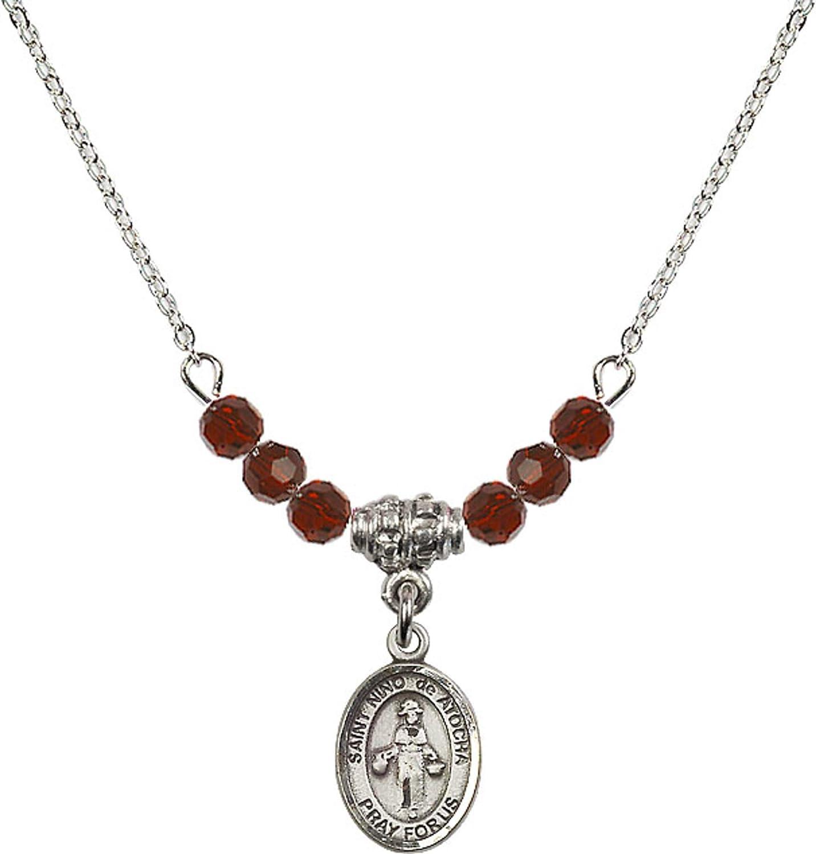 Bonyak Jewelry 18 Inch Rhodium Plated Necklace w// 4mm Red January Birth Month Stone Beads and Saint Nino de Atocha Charm