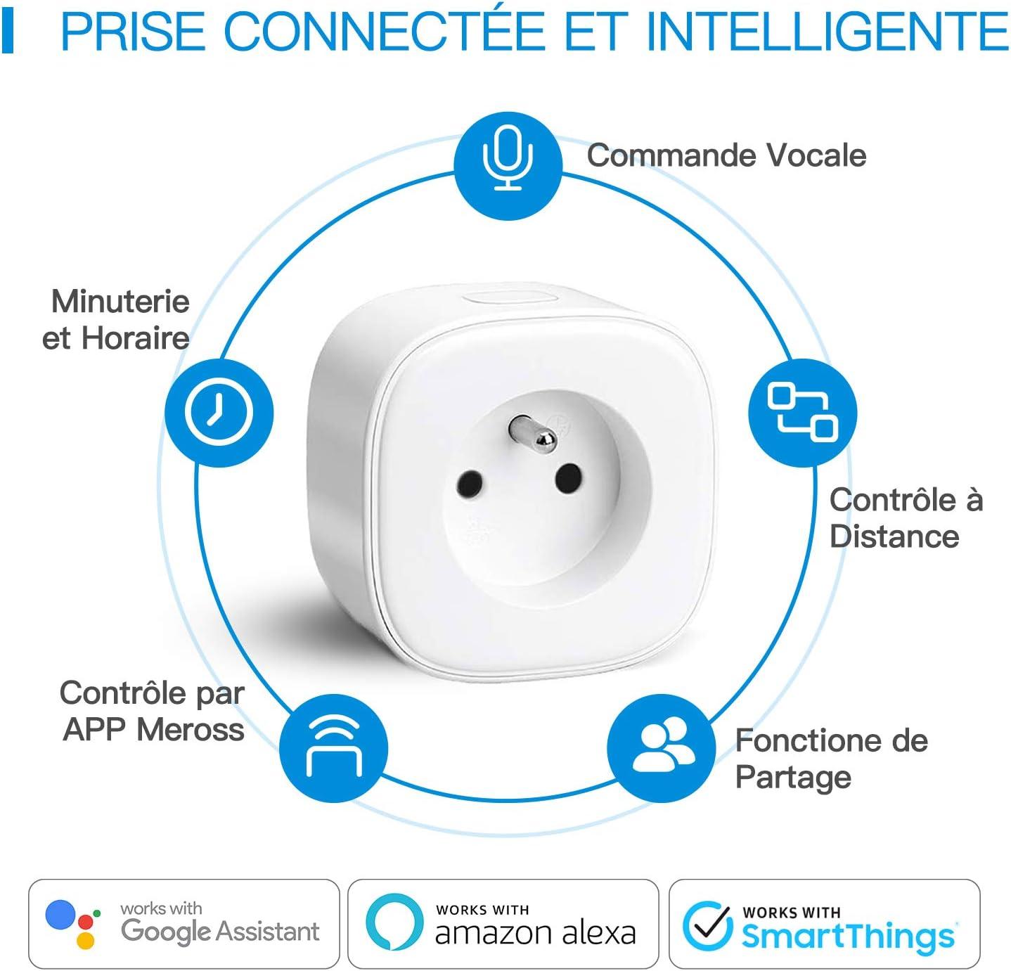 Echo, Echo Dot Etersky Prise Intelligente Compatible avec  Alexa Google Home Alexa Prise Connect/ée WiFi Lot de 4 prises Prise Contr/ôle /à Distance et Programme de Temps via APP