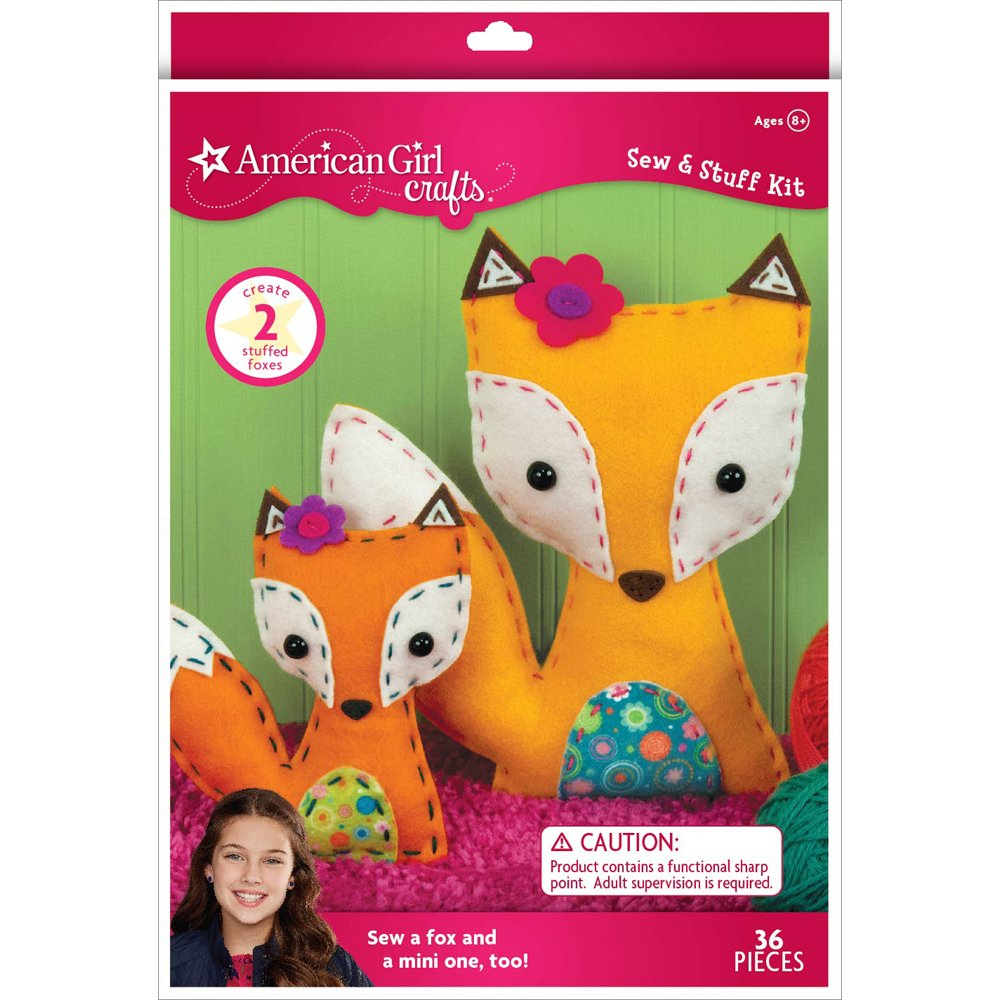 American Girl Crafts DIY Fox Stuffed Animals Sew and Stuff Kit 8'' W x 10.5'' H and 5.25'' W x 6'' H