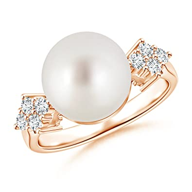 Angara South Sea Cultured Pearl Ring with Cluster Diamonds bkavDbqW