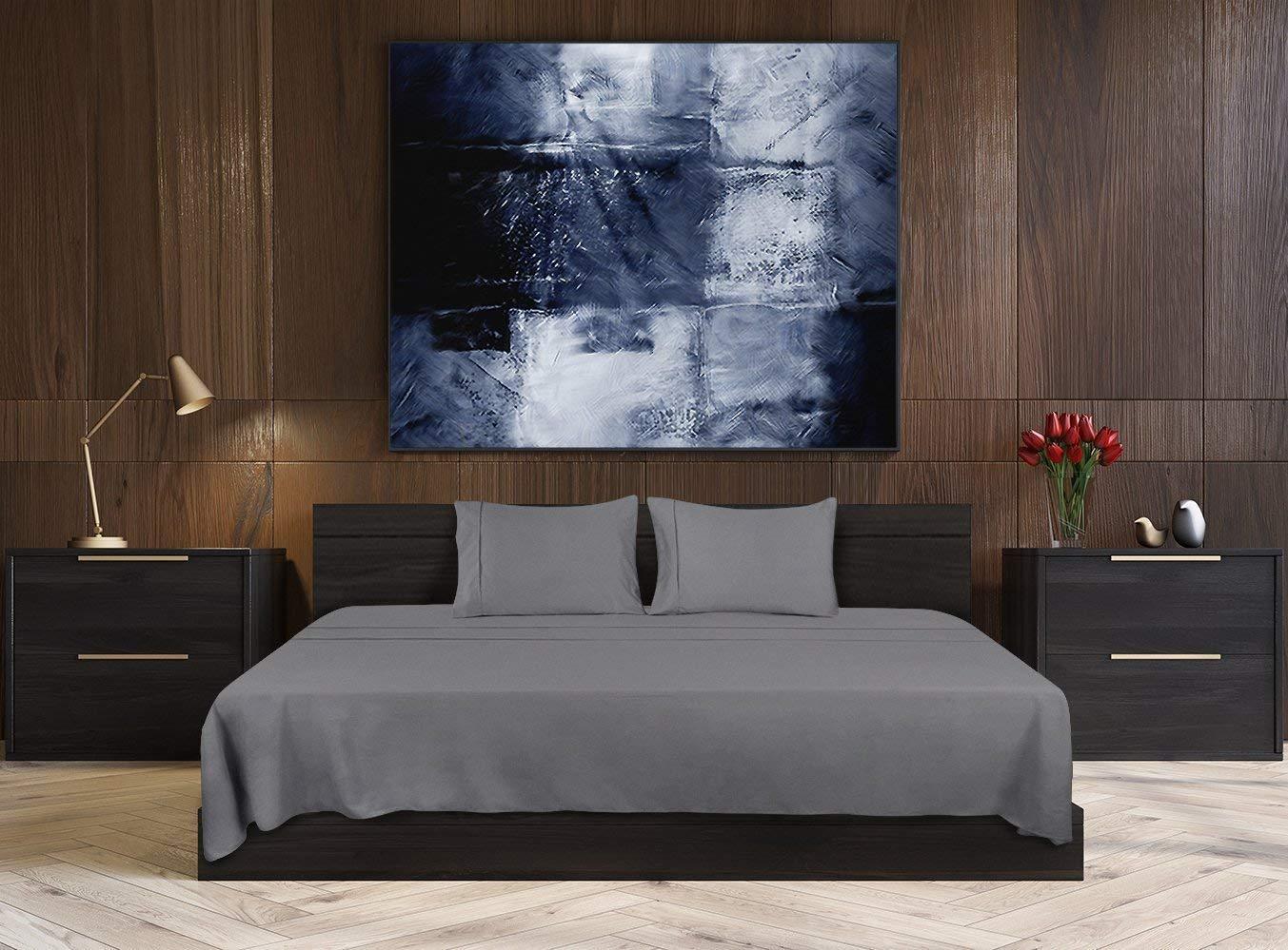 e97cfff74f Utopia Bedding - Set Lenzuola Letto - Spazzolata Microfibra - (Grigio, 2  Piazze): Amazon.it: Casa e cucina