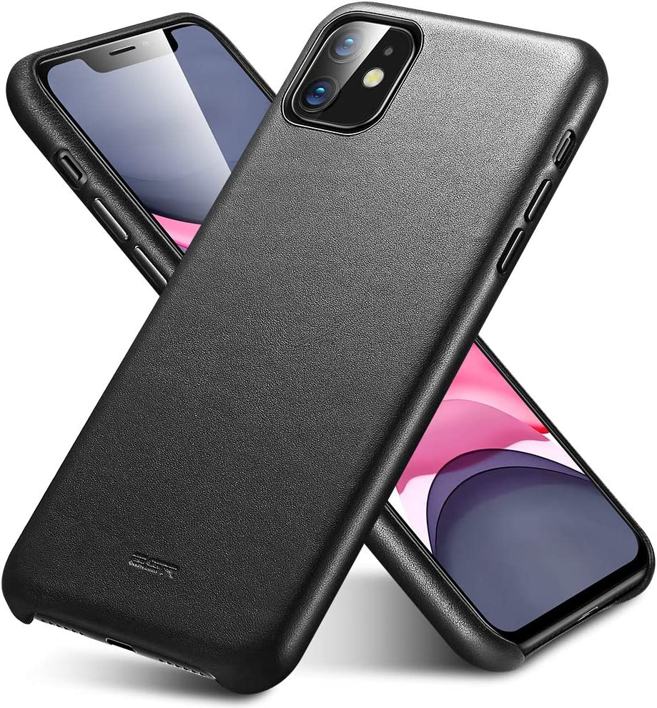 ESR Funda de Auténtico Cuero Premium Compatible con iPhone 11, Funda Fina para Teléfono de Cuero, Funda Slim, Resistente a Arañazos, Funda Protectora iPhone 11 2019 – Negro.