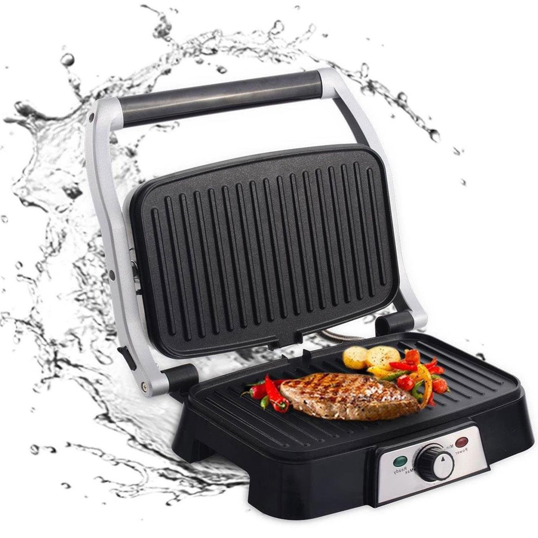 Aigostar Hitte 30HFA - Grill multifonction, plancha, presse à paninis, appareil à sandwichs. 1500W, plaques anti-adhésives, ouverture à 180º, intensité réglable. Couleur argent. Design exclusif.