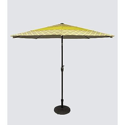 Pebble Lane Living 9' Yellow Pattern Aluminum Patio Market Umbrella Tilting with Crank Open and Vented Top: Garden & Outdoor
