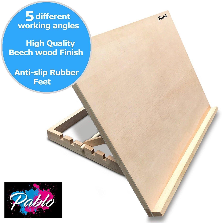 Scrivania e cavalletto di legno Pablo formato A2 base di lavoro in legno per progetti artistici e artigianali regolabile formato A2