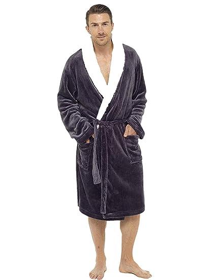 7a051d530d31a3 City Comfort® Luxus Herren Kapuzen-Morgenmantel weiche Fleece-Kleider Bademantel  Bademantel mit Schal