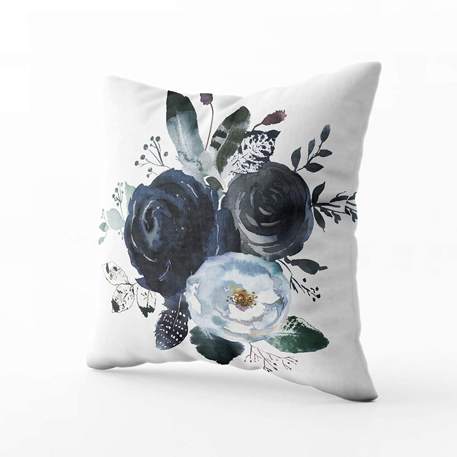 HerysTa Easter Home Decorative Cotton Throw Pillow Cover 16X16inch Invisible Zipper Cushion Cases Watercolor Floral Wreath Roses Peonies Leaves Boho Grey Navy White Indigo Blue Square Sofa Bed Décor