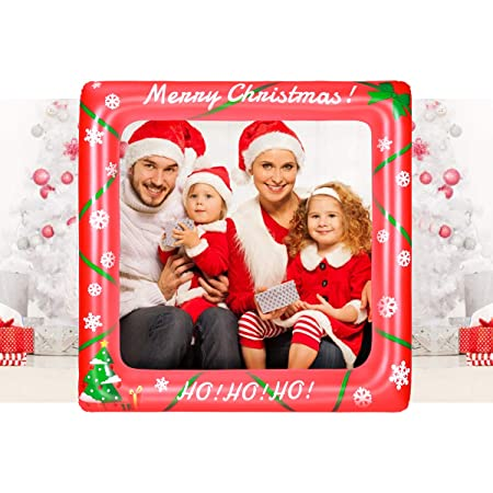 Amosfun Christmas Inflatable Selfie Frame Picture Selfie Frame Funny