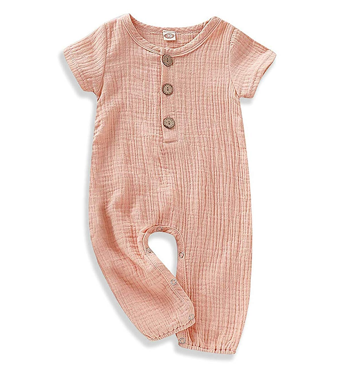 YOUNGER TREE Newborn Toddler Baby Jumpsuit One Piece Outfits Baby Solid Color Rompers Linen Cotton Playsuit Bodysuit Clothing