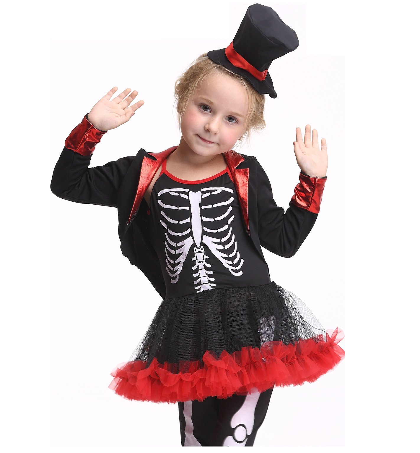 Girl's Halloween Skeleton Costume Trousers Pirate Cosplay Dancing Dress Set (X-Large)