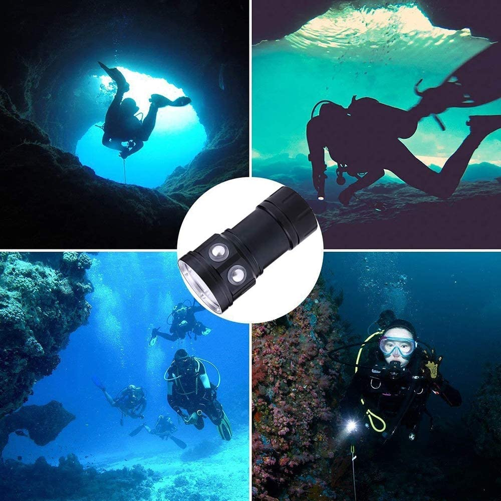 IPX8 Waterproof Submarine Underwater Scuba Diving 80m Flashlight Lighting Lamp Light Handheld Video Photography Torch with Handle Bracket WOTR Dive Light