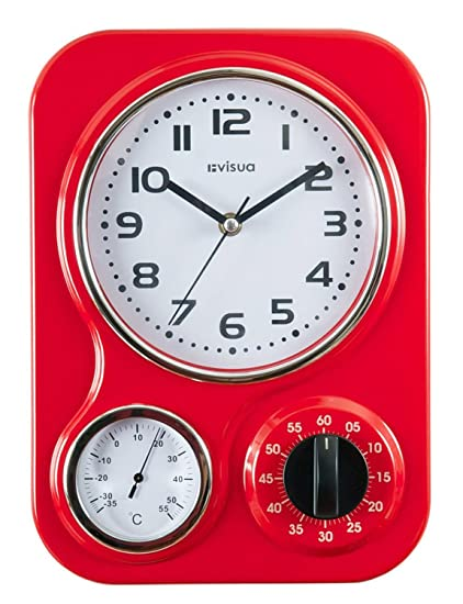 red retro kitchen clock zoemichela nia metal retro kitchen clock with mechanical timer and temperature gauge red amazoncom