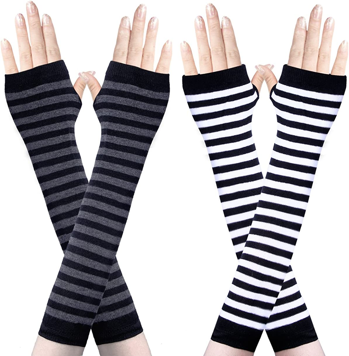 Amandir 2-4 Pairs Long Fingerless Gloves for Women Arm Warmers Knit Thumbhole Stretchy Gloves(Style 2) at  Women's Clothing store