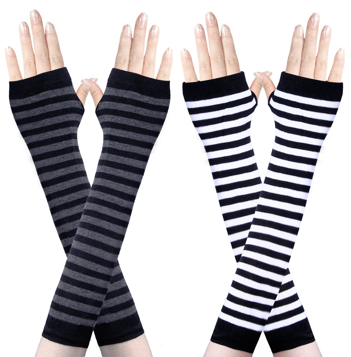 Amandir 2 Pairs Womens Long Fingerless Gloves Arm Warmers Knit Thumbhole Stretchy Gloves