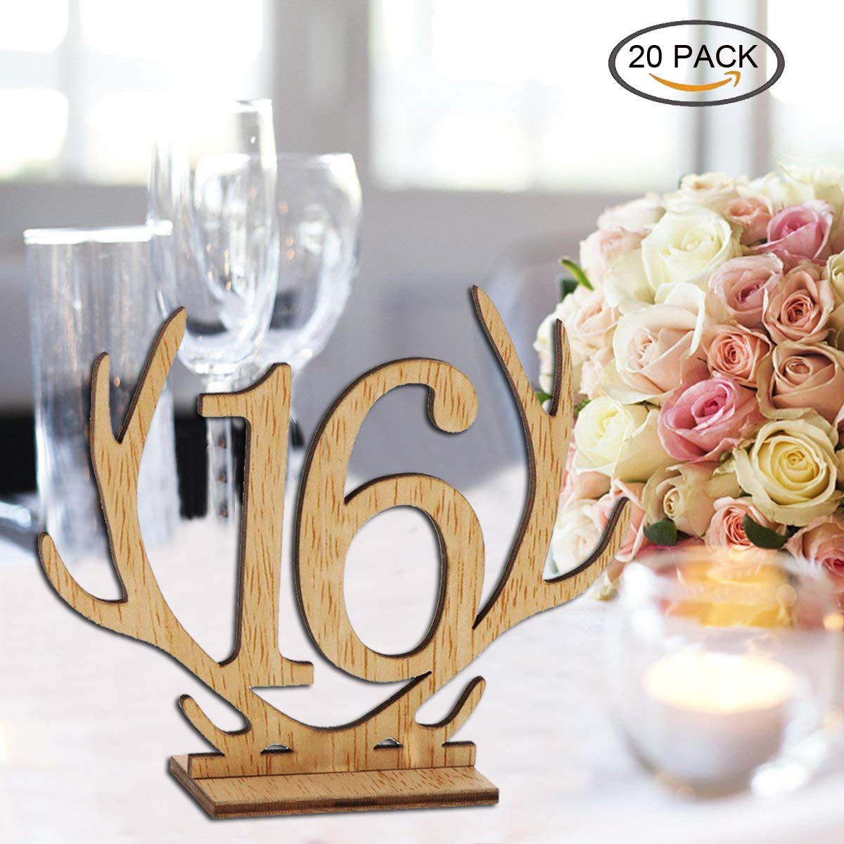 Wellinc Table Numbers 20 Pack (Number 1-20) Wedding Wood Table Numbers Unique Design Party Table Cards for Wedding Events and Banquet