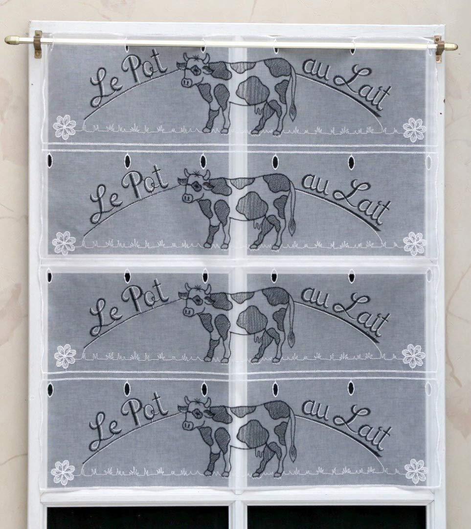 Rideau Modulable Organza Vache Brodé 60 cm Réf. 61152 Rido&co