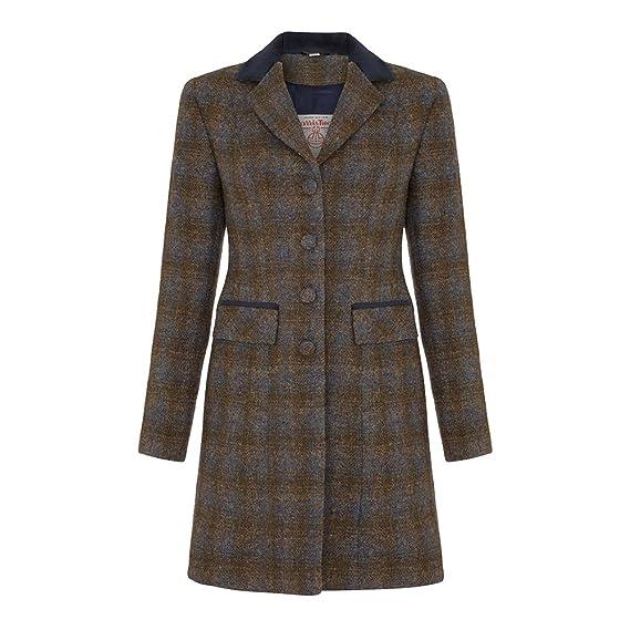 3c1ef21598 Oxfords Cashmere Ladies Harris Tweed Coat, Navy, 18: Amazon.co.uk ...