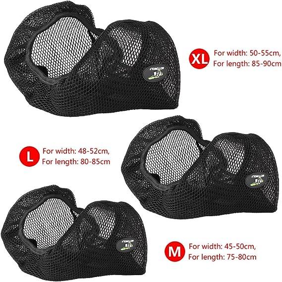 Qiilu 3d Motorrad Roller Atmungsaktive Net Sitzbezug Kissen Schutz Schwarz Xl Auto