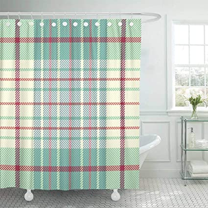 Emvency Fabric Shower Curtain With Hooks Red Check Tartan Plaid Kilt Xmas Abstract Britain Celtic Checkered