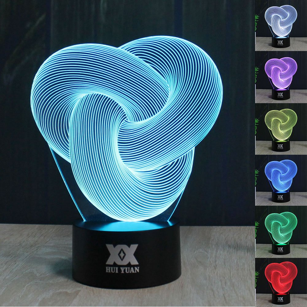 3D Illusion LED Desk Table Night Light Lamp 7 Color Touch Lamp Kiddie Kids Children Family Holiday Gift Home Office Childrenroom Theme Decoration by HUI YUAN