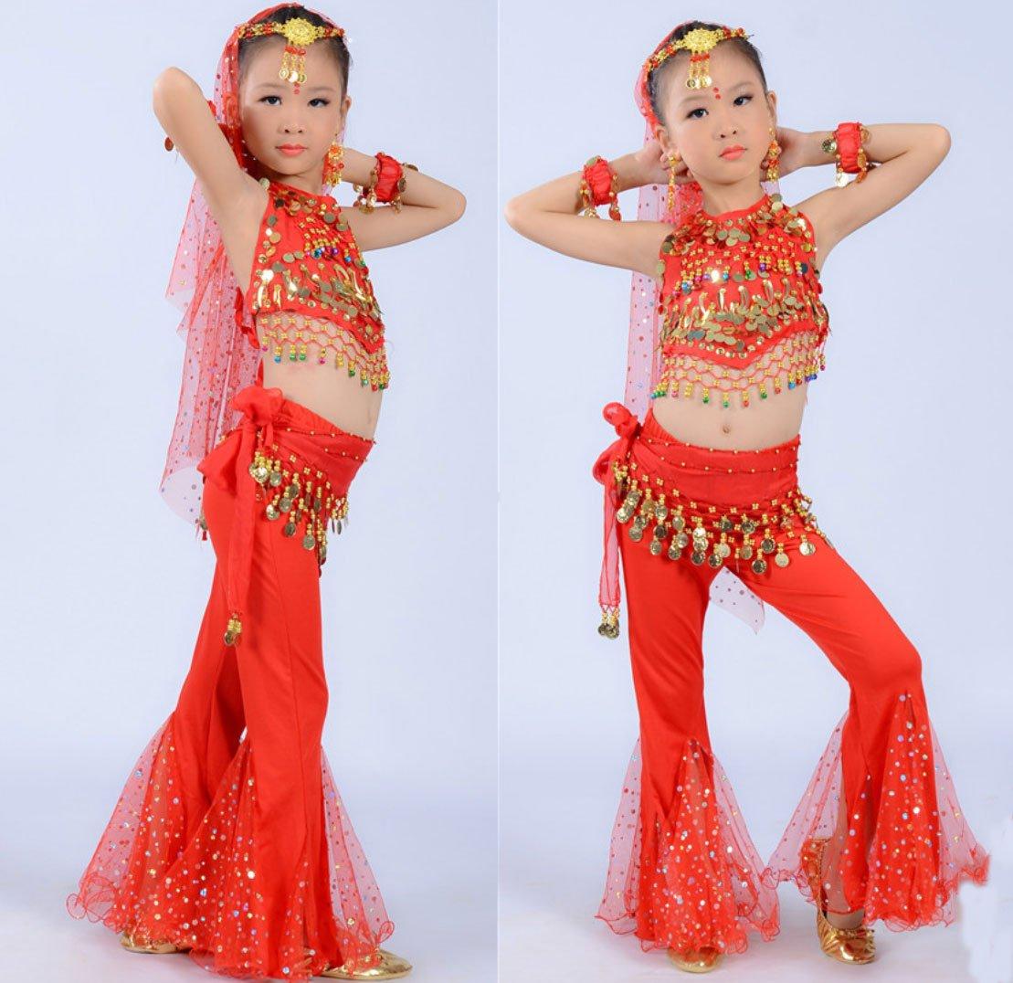 Costume De Danse De Costume De Danse Du Ventre De La Fille Child Inde Danse Effectuer Jupe De Vêtement Rouge