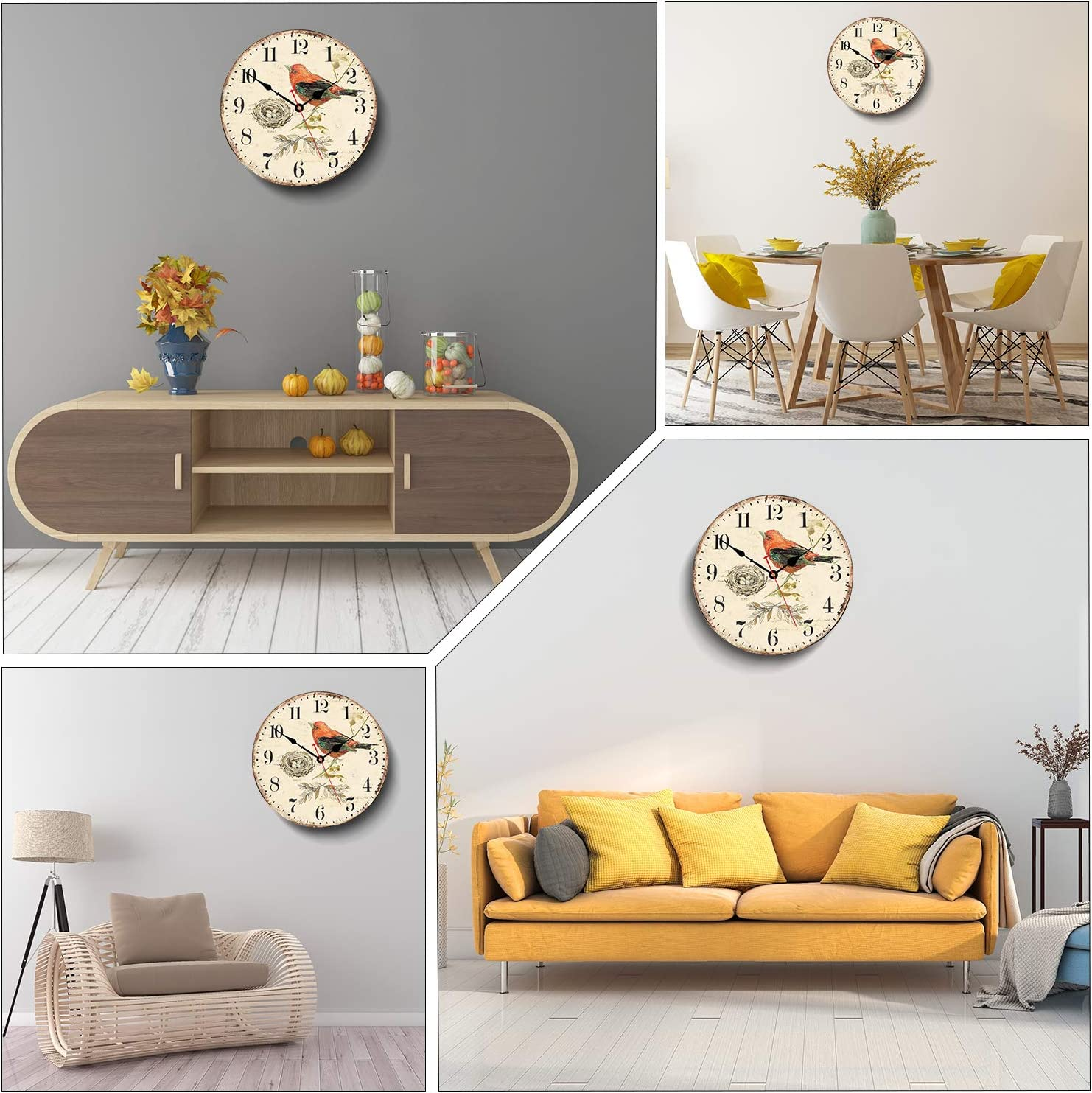 Bird on Branch Pattern WISKALON 14 inch Vintage Wall Clock Quartz Movement Silent Non-Ticking Wall Clocks Battery Operated Hanging Clock Round Wooden Vintage Wall Clock for Home,Kitchen,School