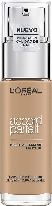 L'Oréal Paris Accord Parfait, Base de maquillaje acabado natural con ácido hialurónico, tono piel medio 5N, 30 ml