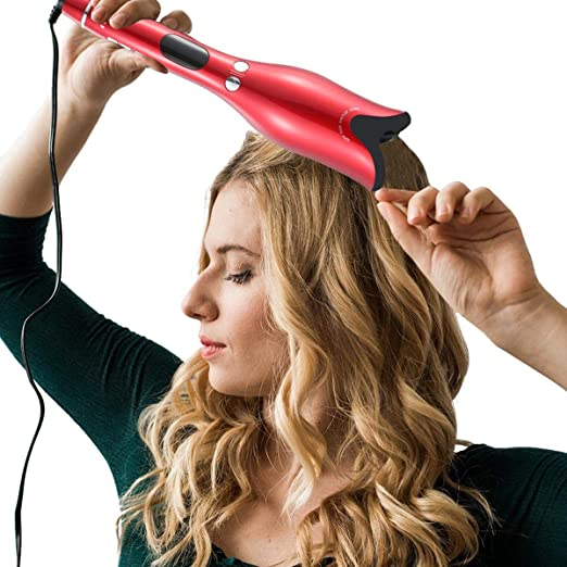 ... Ceramic Rotating Curler, Womdee Hair Curlers Automatic Curly Hair Blow, Hair Curlers Blow Dryer with Hair Clips and Cleaning Tool, Red, Black: Beauty