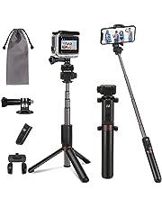 PEYOU Palo Selfie Trípode para Teléfono y Gopro, [6 en 1] Palo Selfie con Control Remoto, Adaptador de Teléfono / GoPro,1/4'' Tornillo Adaptador, Bolsa, para Teléfono,Camara,GoPro