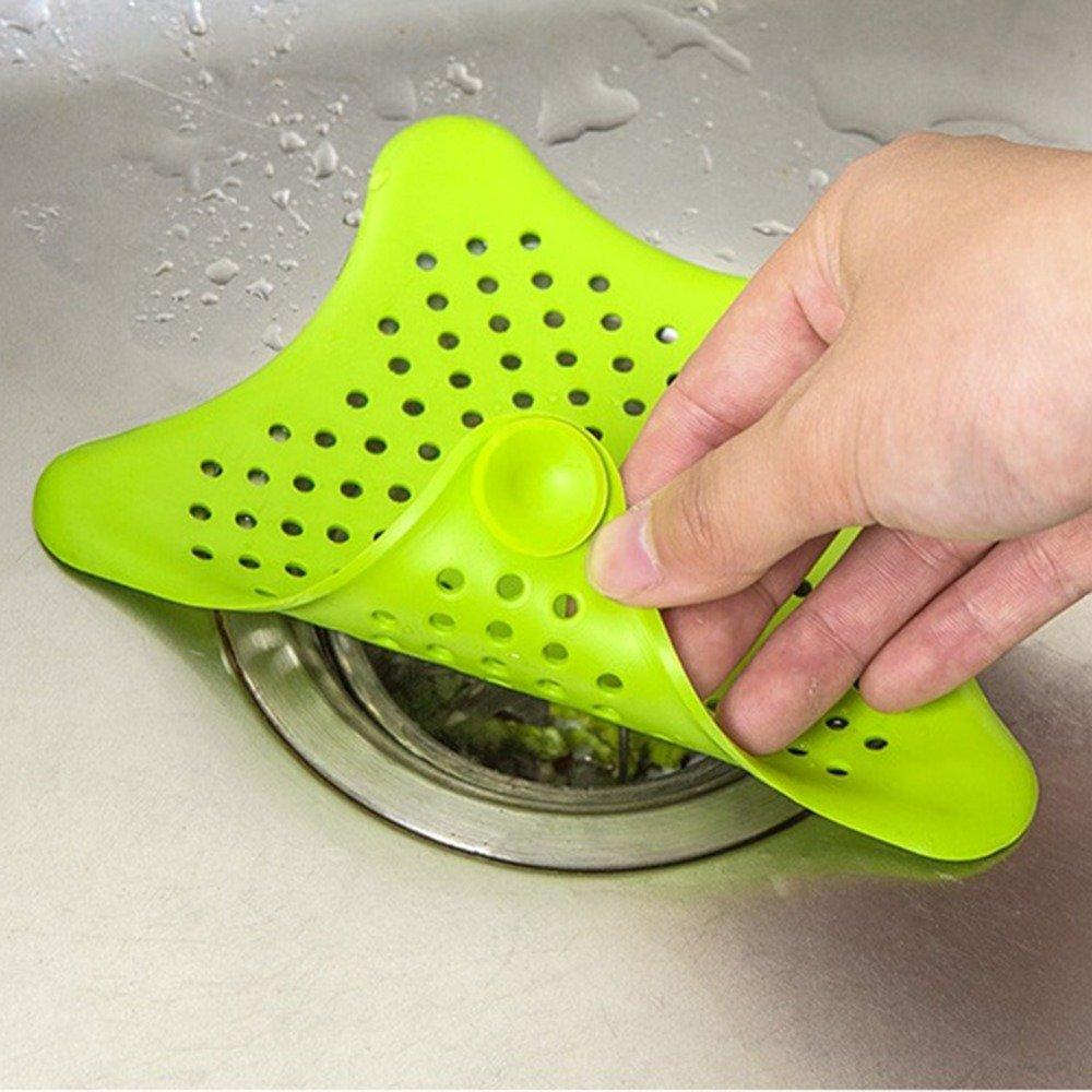 Wuudi Starfish filtro per lavello da cucina antiscivolo in gomma per doccia capelli Catcher capelli tappo per vasca da bagno e cucina pulizia