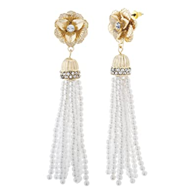 Image result for Catherine Malandrino Rhinestone Flower Style Beaded Simulated Pearl Yellow Gold-Tone Tassel Earrings for Women