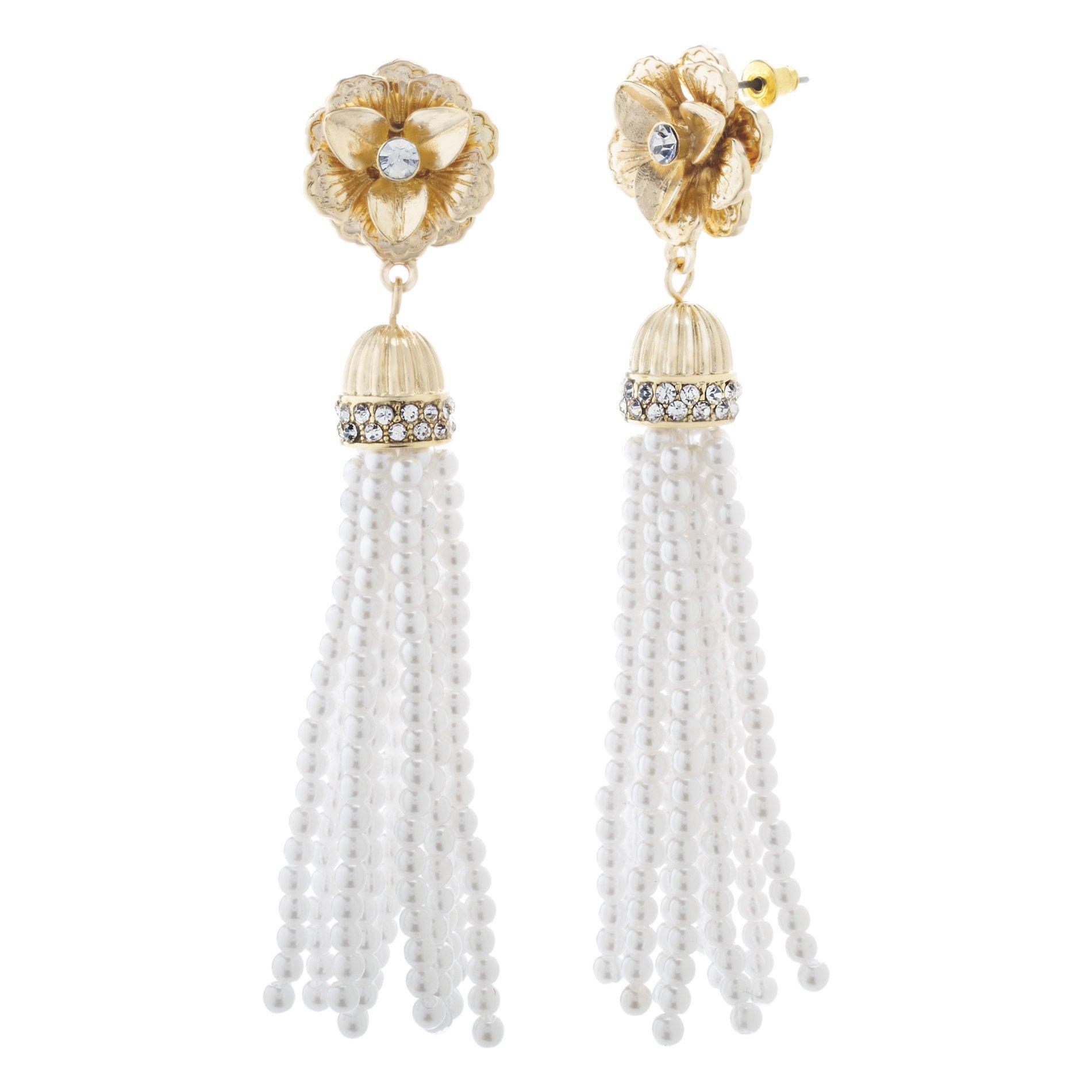 Catherine Malandrino Women's Rhinestone Flower Style Beaded Simulated Pearl Yellow Gold-Tone Tassel Earrings