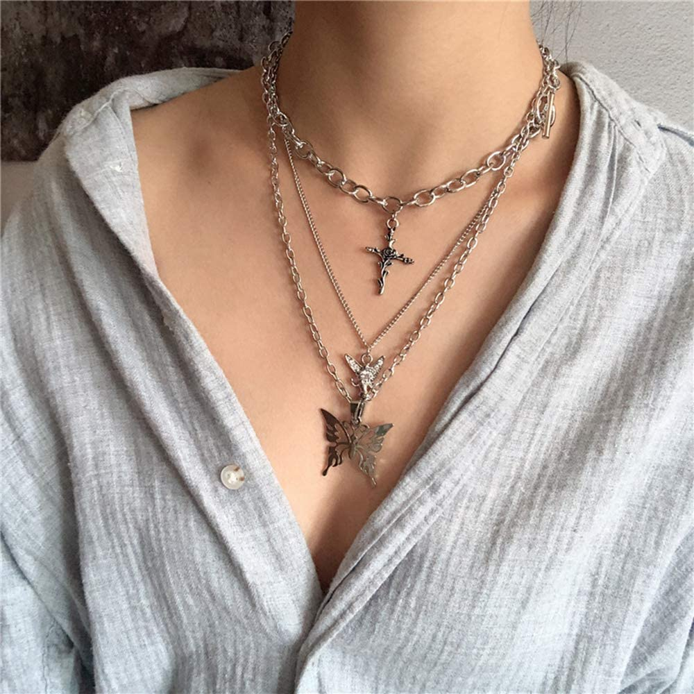 Butterfly Lock Chains Necklace Angel Layered Choker Emo Aesthetic Chunky Chains for Eboy Egirl Women Men