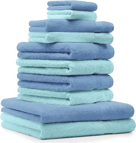 BETZ Set di 10 Asciugamani Premium 2 Asciugamani da Doccia 4 Asciugamani 2 Asciugamani per Ospiti 2 Guanti da Bagno 100/% Cotone Colore Turchese e Grigio Antracite
