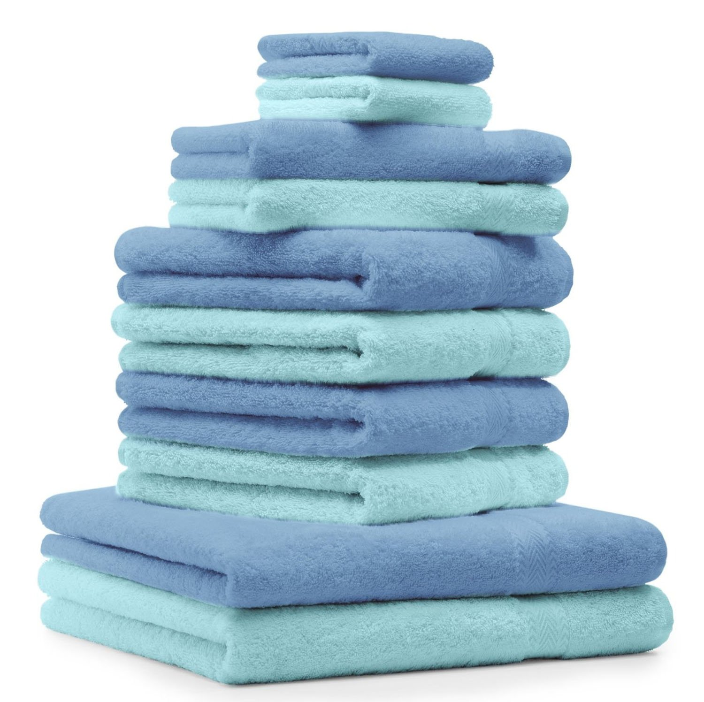 Betz 10 Pezzi. Set di asciugamani 2 asciugamani da doccia, 4 asciugamani, 2 asciugamani per ospiti, 2 guanti da bagno 100% Cotone asciugamano Premium colore azzurro e turchese