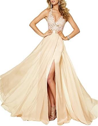 Fnina Womens 2017 Long Beaded Prom Dresses with Slit Formal Gown Size 2 Champagne