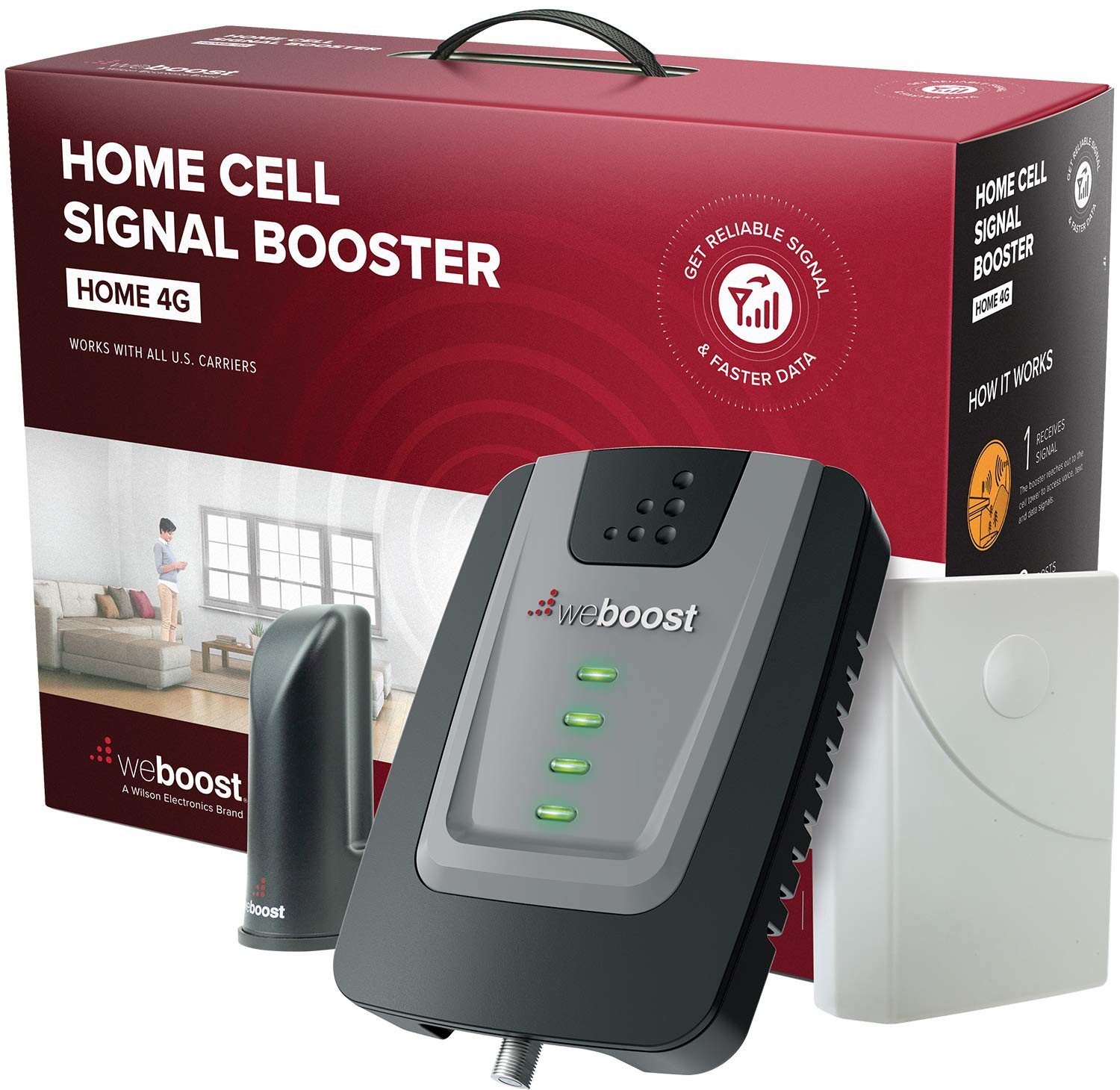 weBoost Home 4G (470101) Cell Phone Signal Booster for Home and Office -  Verizon, AT&T, T-Mobile, Sprint - Supports 1,500 Square Foot Area